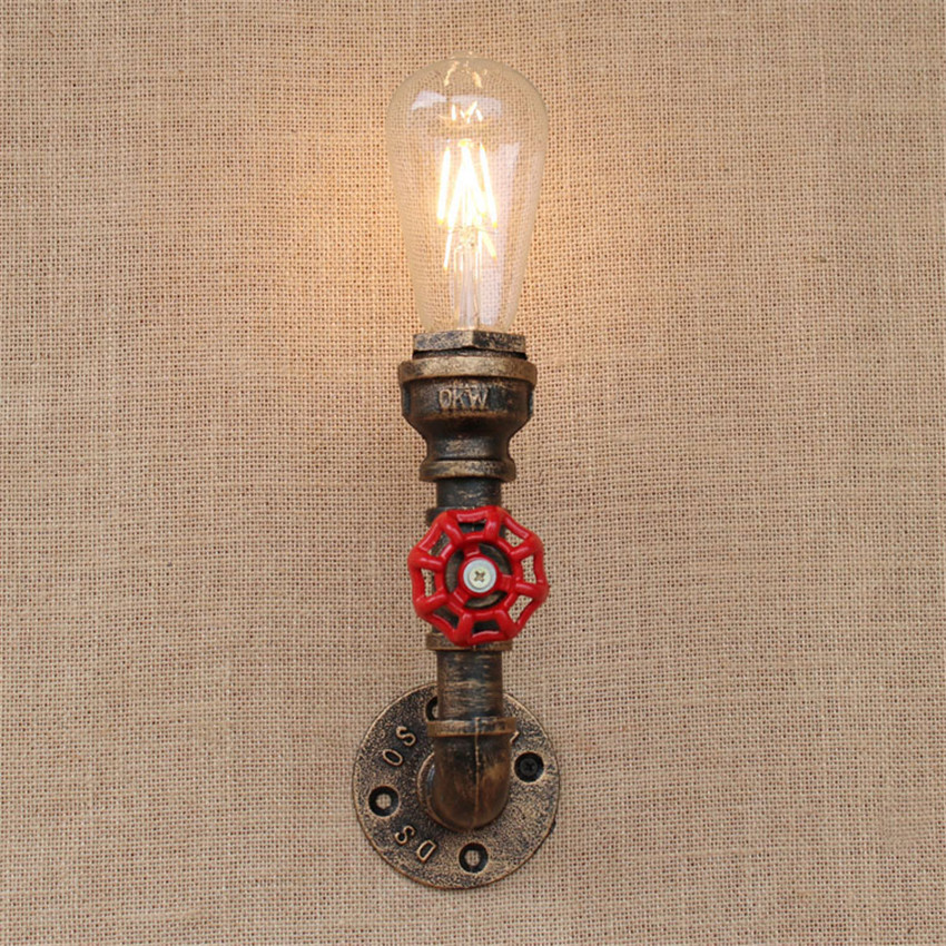 1 light vintage steampunk wall lamp industrial water pipe. Black Bedroom Furniture Sets. Home Design Ideas