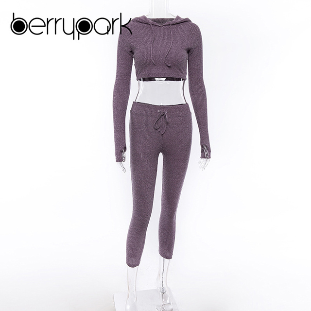 BerryPark Knitted Tracksuit Women Casual 2 Pieces Sets Long Sleeve Ribbed Crop Tops Hoodies and Calf Length Pants Sweat Suits 4