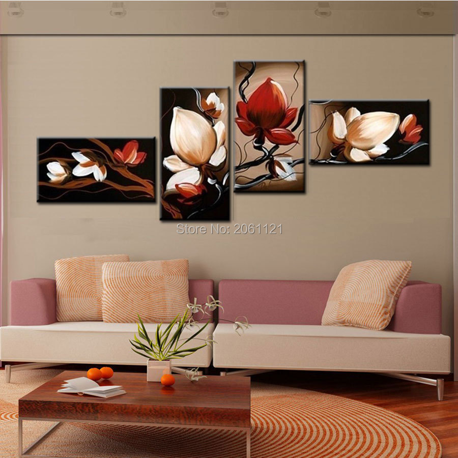 Best sale dark red flower art canvas painting oil cheap wall art decor room pictures modern abstract 4 piece sets in painting calligraphy from home