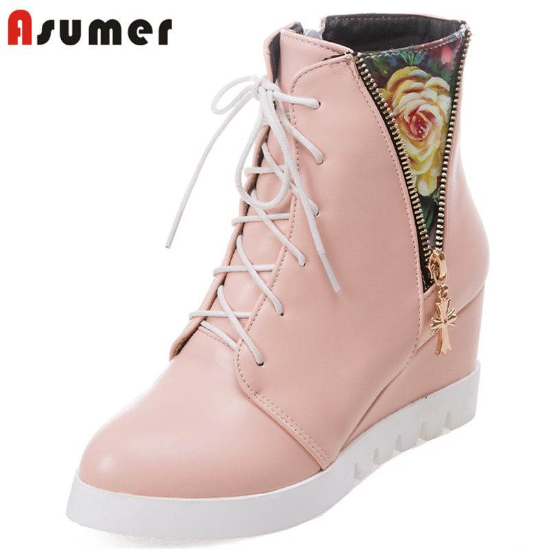 ASUMER 2018 NEW fashion patchwork quality PU boots round toe ankle boots women wedges zipper lace up platform winter boots bzbfsky fashion 2018 lace up wedges platform casual shoes woman patchwork womens winter spring black white red ankle women boots