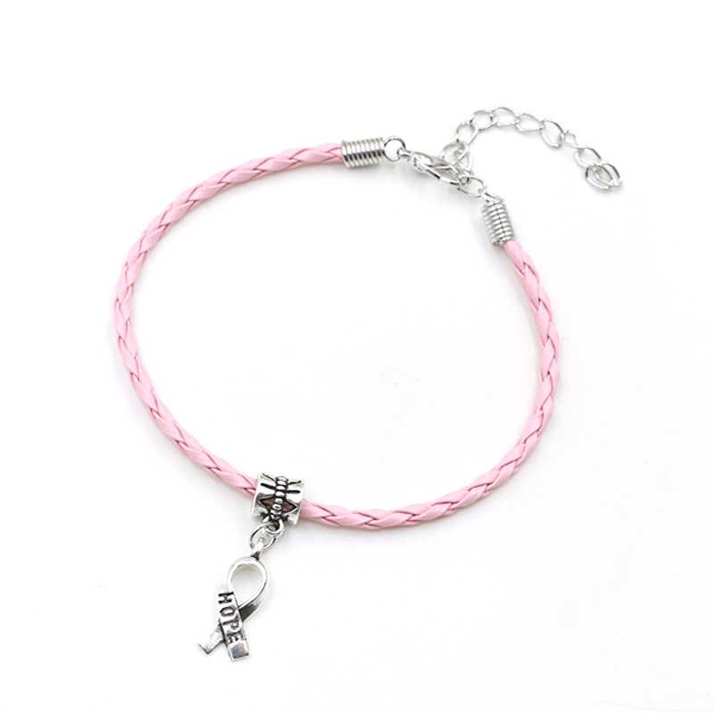 AWARENESS Breast Cancer Bracelet Pink Awareness Ribbon European Charm Bracelet