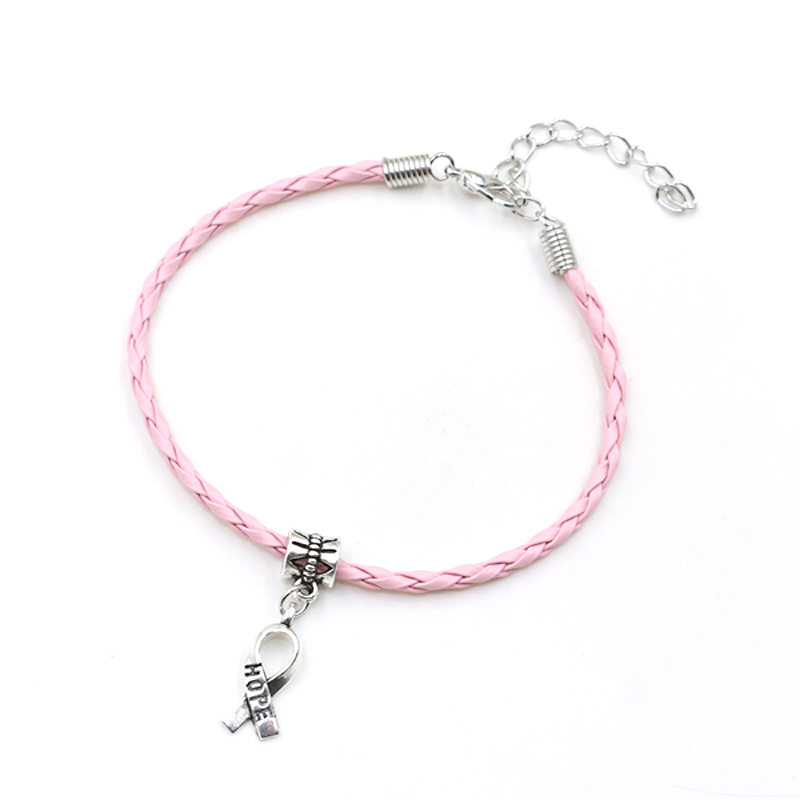 50pcs Hope Breast Cancer Awareness Ribbon Charm Pendant Leather Rope Cham Bracelet Fit for European Bracelet Handmade Craft DIY-in Charm Bracelets from Jewelry & Accessories