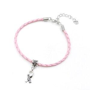 Image 1 - 50pcs Hope Breast Cancer Awareness Ribbon Charm Pendant Leather Rope Cham Bracelet Fit for European Bracelet Handmade Craft DIY