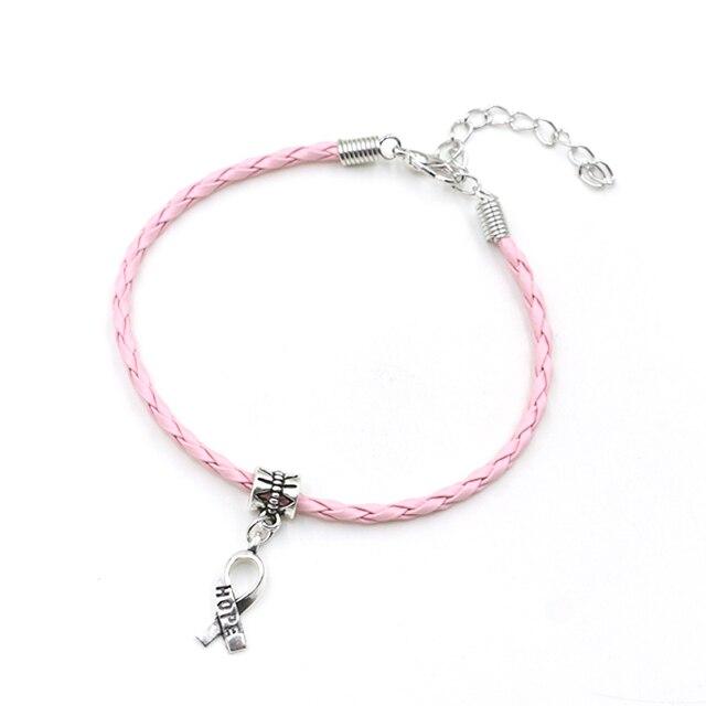 50pcs Hope Breast Cancer Awareness Ribbon Charm Pendant Leather Rope Cham Bracelet Fit for European Bracelet Handmade Craft DIY