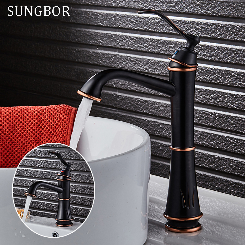 Matte Black Faucet Hole Cold And Hot Water Basin Faucet Basin Sink Mixer Tap Brass Made Single Handle Single Basin Crane AL-7808 micoe brass faucet single handle single hole kitchen faucet double nozzle water mixer chrome hot and cold water rotating faucet