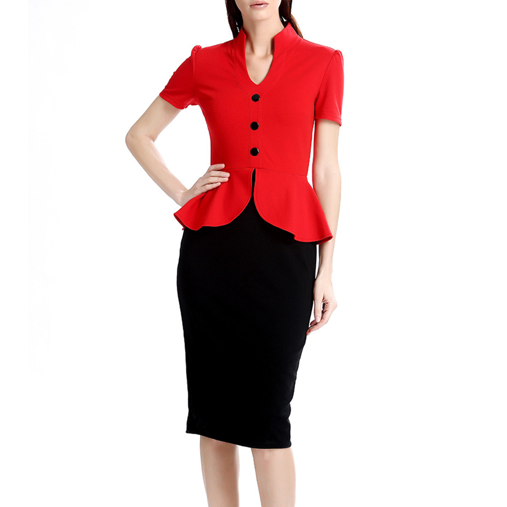 Sexy Women V-neck Ruffle Waist Dress Short Sleeve Bodycon Party Office OL Pencil Dresses H9
