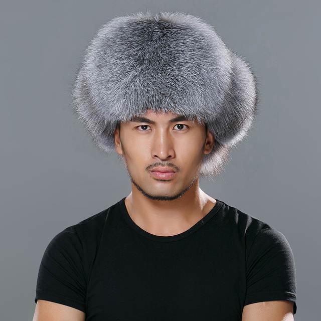 165b17ea2 Star Fur 2018 Genuine Fox Fur Hats Men Real Raccoon Fur Lei Feng Caps  Russian Winter Men Bomber Hats with Genuine Leather Tops