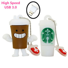 Pen Drive Starbucks Cup USB 3.0  Flash Drive  8GB 16GB 32GB 64GB Cartoon Bottle coffee mug Usb Flash Memory Stick Disk On Key
