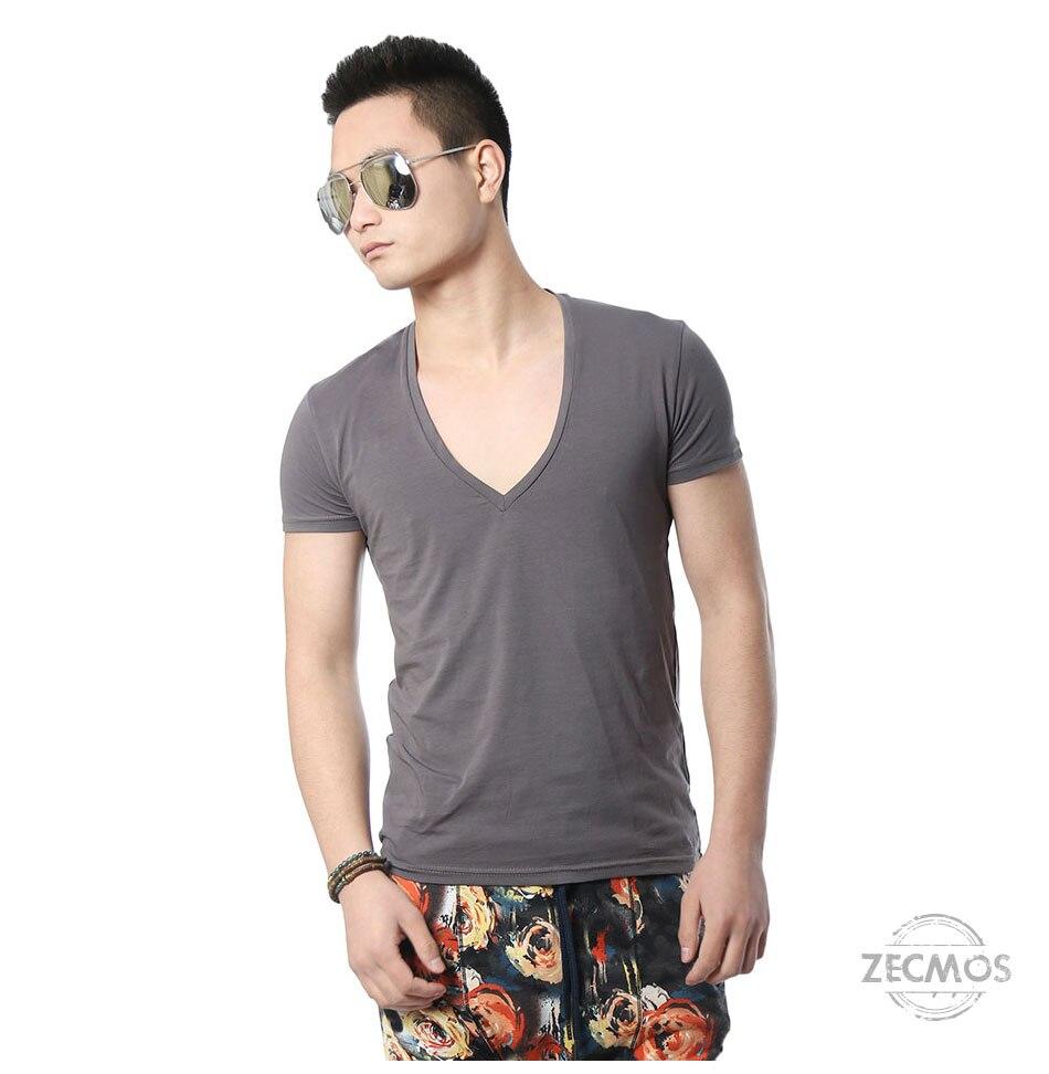 Zecmos Deep V Neck Sexy Men T-Shirt Vintage Short Sleeve Solid Color Muscle Fit T Shirt Men Top Tees Fashion 32
