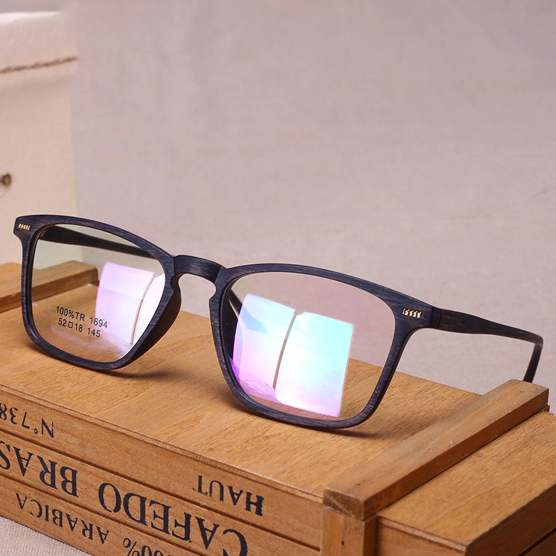 Cubojue Eye Glasses Frame Men Women Wooden Grain Eyeglasses Man's Spectacles Spring Hinge for Prescription Optic TR90 Eyeglass