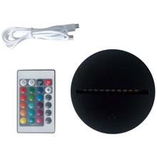 Светодиодный светильник для 3D иллюзии, Ночной светильник, 7 цветов, сенсорный выключатель, сменная база для 3D настольных ламп