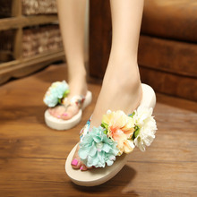 Fashion Woman Beach Flip Flops Summer Sandals Flower Bohemia Slippers Platform Sandals Flat Shoes Female Indoor Plus Size 35-42 big bowtie woman beach flip flops summer sandals slip resistant slippers platform sandals size 34 40
