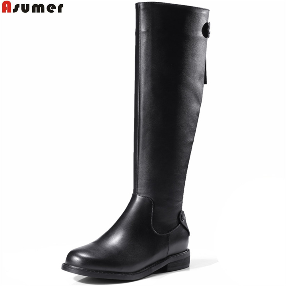 ASUMER black fashion women boots round toe zipper ladies genuine leather +pu boots square heel buckle knee high bootd low beango europe retro fashion do old ladies knee high boots round toe square heels buckle side zipper women motorcycle boots