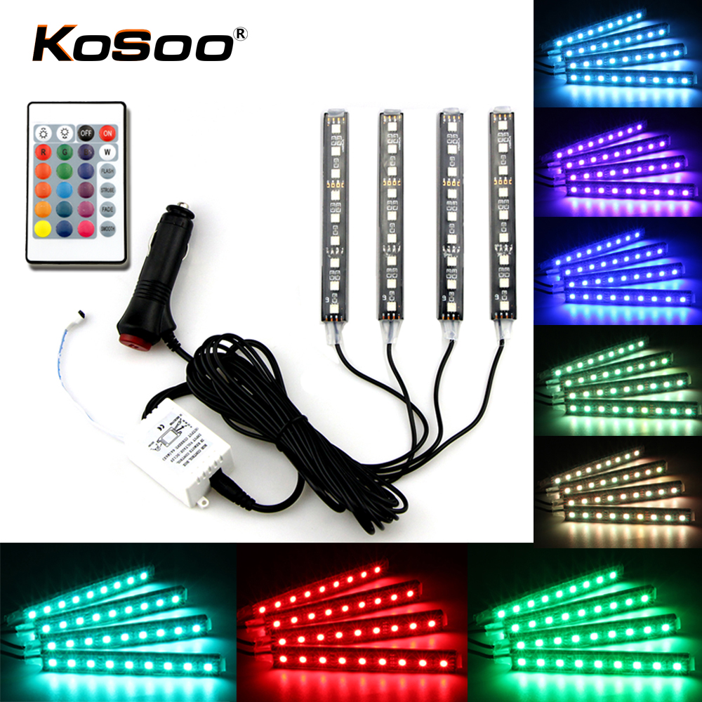 KOSOO 4pcs Car RGB LED Strip Light LED Strip Lights 16 Colors Car-Styling Decorative Remote Atmosphere Lamps Car Interior Light
