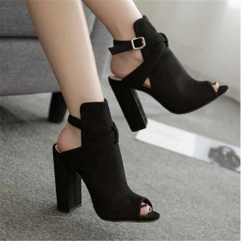 ผู้หญิงรองเท้าแตะ Gladiator รองเท้าส้นสูงสายปั๊มหัวเข็มขัดรองเท้าแฟชั่นฤดูร้อนสุภาพสตรีรองเท้าสีดำขนาด 35-42