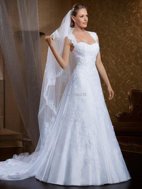 Vestido De Gala Novia Cap Sleeve Princess Bride Dresses Open Back Lace Vintage Wedding Gown Casamento