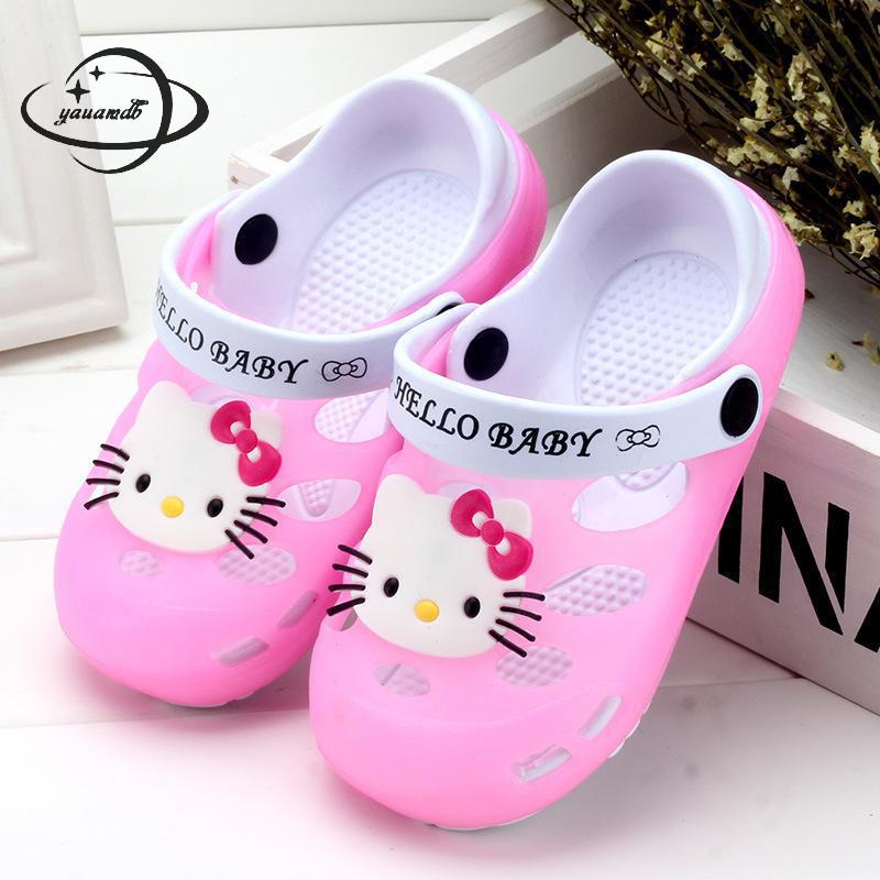 YAUAMDB kids mules & clogs summer PVC boys girls flat sandals cartoon cat breathable letter hollow antiskid children shoes y15