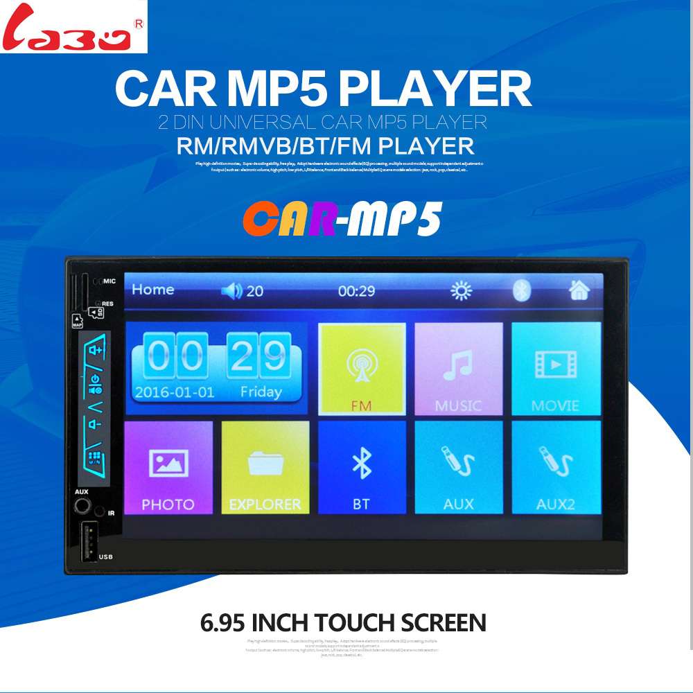 LaBo Car MP5 Player 7 Touch Screen In Dash Bluetooth Car Stereo Radio MP4 Player Support FM USB SD Aux Rear View Camera Input