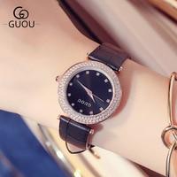 GUOU 2017 Brand Watch Kobiet zegarka Women Watches Fashion Diamond Leather Quartz Analog Wristwatches relogio feminino