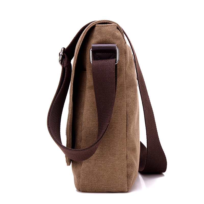 the side photo of a canvas laptop bag