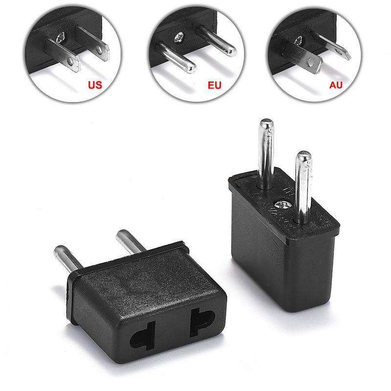 2pcs European Euro Eu Plug Adapter Us American To Europe Travel Power Adapter Plug Outlet