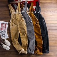 Autumn Mens Corduroy Suspender Pants Spring Men Skinny corduroy bib overalls Winter hip hop Streetwear stap jumpsuits D91304