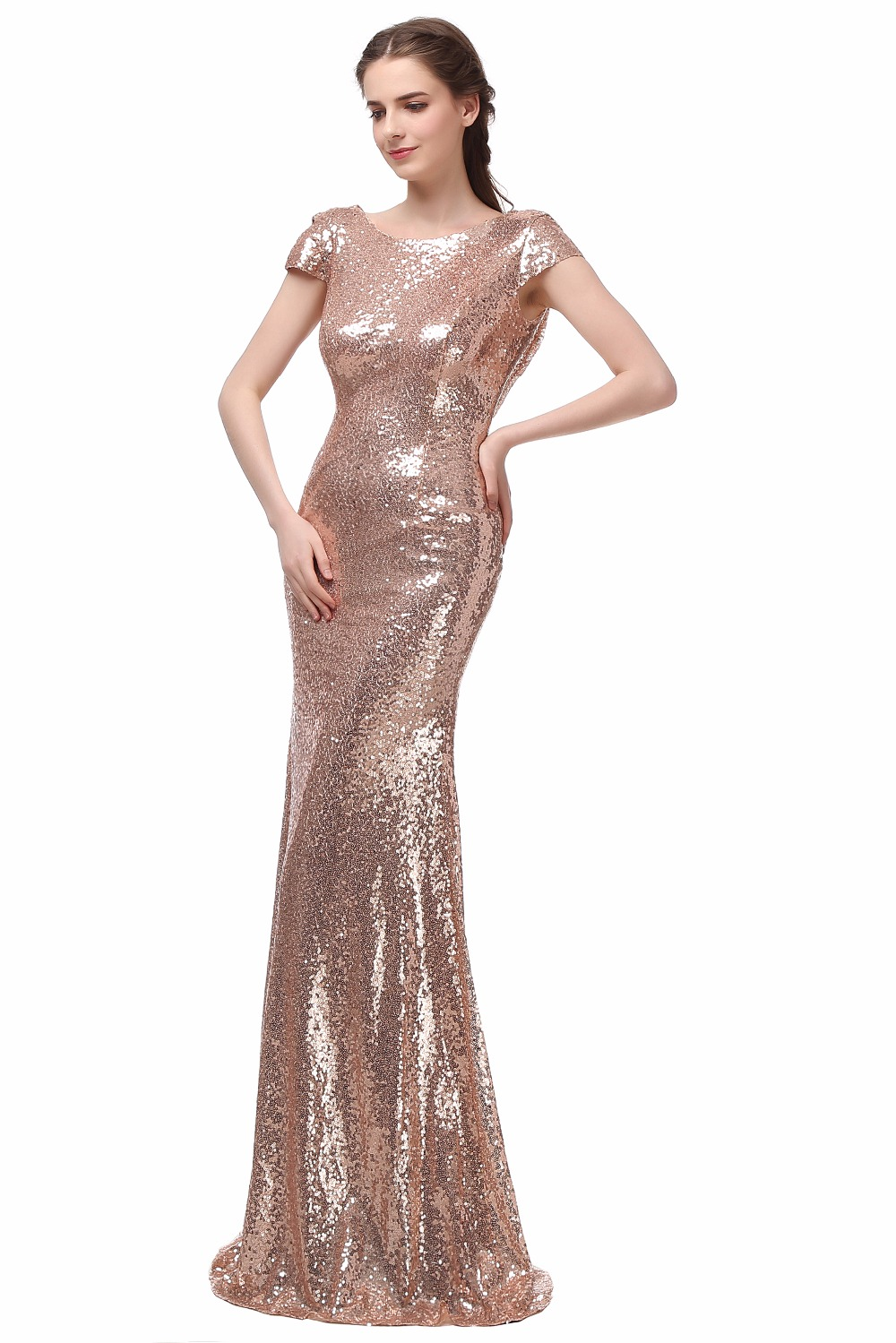 Champagne Long vestido longo Sequined Short Sleeve Floor Length Bridesmaid Dress 2016 Prom Dress Wedding Party Dress 11