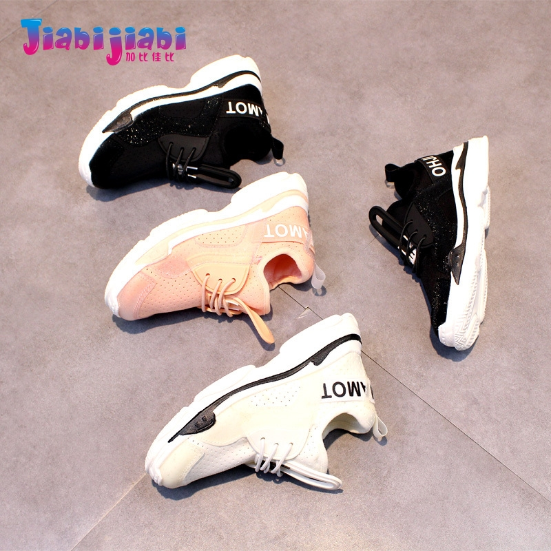3-6T New Spring Summer Children Student Letter Boys Sport Shoes Girls Run Casual Shoes Toddler Kids flyknit Elasticity Sneaker 7