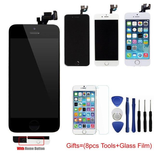 Полный Набор Для Iphone 5 5S 5C ЖК-Дисплей С Сенсорным Экраном дигитайзер Главная Кнопка Передняя Камера в Сборе С Мелких Деталей + инструменты + пленка