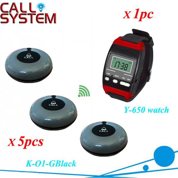 Paging System of Coffee Bar Customer call button for service, 1 watch receiver with 5 buzzer for table use service call bell pager system 4pcs of wrist watch receiver and 20pcs table buzzer button with single key