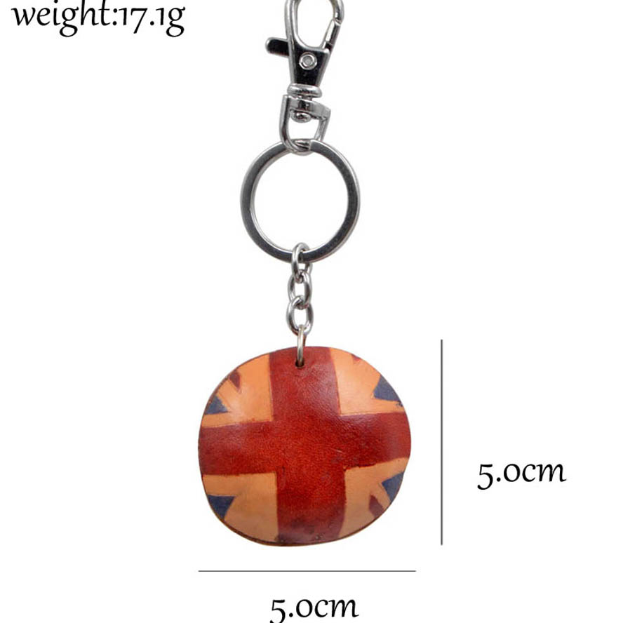 Youngtulip Handmade United Kingdom Flag Style Key Chains Unisex Cowhide Keychain Car and Women Handbag Hanging Cow Leather Gift in Key Chains from Jewelry Accessories