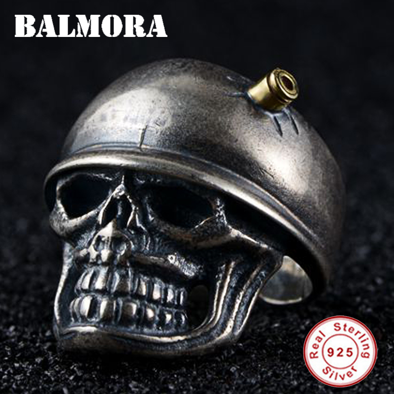 BALMORA Solid 925 Sterling Silver Skull Soldier Male Open Rings for Men Party Gift Vintage Fashion Ring Jewelry Anillos SY22406 jiyaiqi men s ring vintage silver stainless steel compass style fashion men party ring male jewelry rings