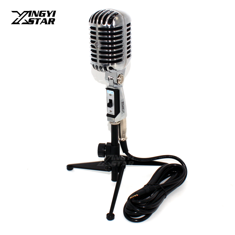 Professional Dynamic Vintage Microphone 3.5mm Audio Cable With Wired Mic Stand For Computer Video Recording Studio Sing Karaoke felyby professional bm 800 condenser microphone for computer audio studio vocal recording mic ktv karaoke microphone stand