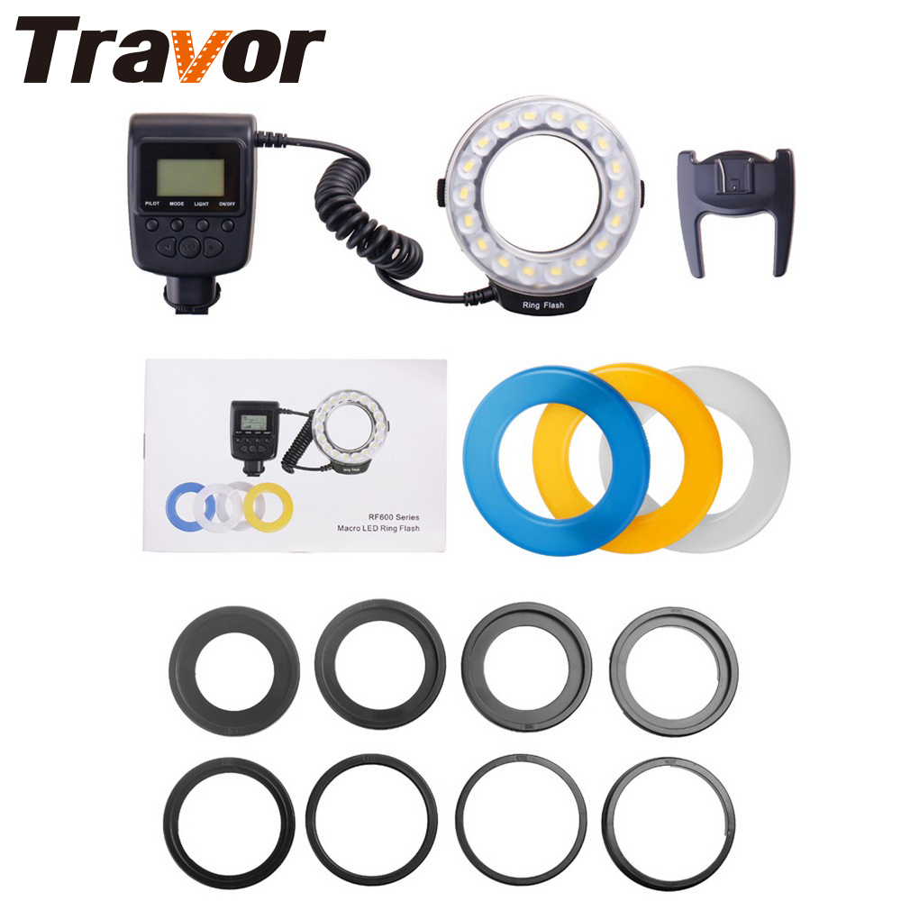 Travor 18pcs High Brighten SMD LED Macro Ring Flash RF-600D For Canon Nikon Pentax Olympus Panasonic Sigma DSLR CameraTravor 18pcs High Brighten SMD LED Macro Ring Flash RF-600D For Canon Nikon Pentax Olympus Panasonic Sigma DSLR Camera