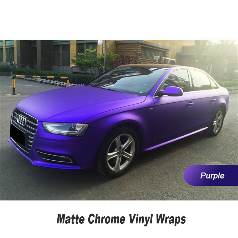 Various Colors Red Blue Gold Green Purple Matte Chrome Vinyl Wrap Film Sticker Decal Bubble Free Car Wrapping Film 5ft X 65ft 2m 18mx152cm glossy matte chameleon pearl glitter vinyl sticker purple blue chameleon automobiles car wrap diamond vinyl film