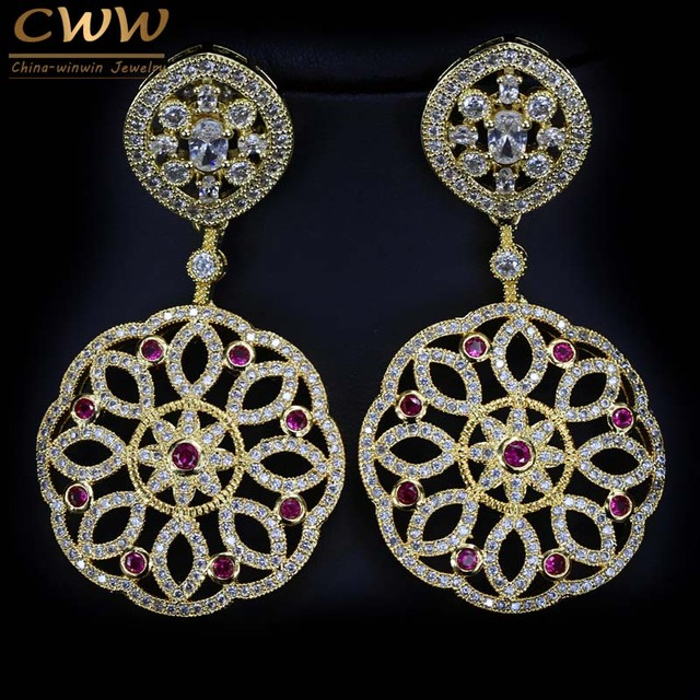 Cwwzircons Brand Cubic Zircon Earring Long Elegant Women Costume Earrings Gold Color Indian Wedding Jewelry
