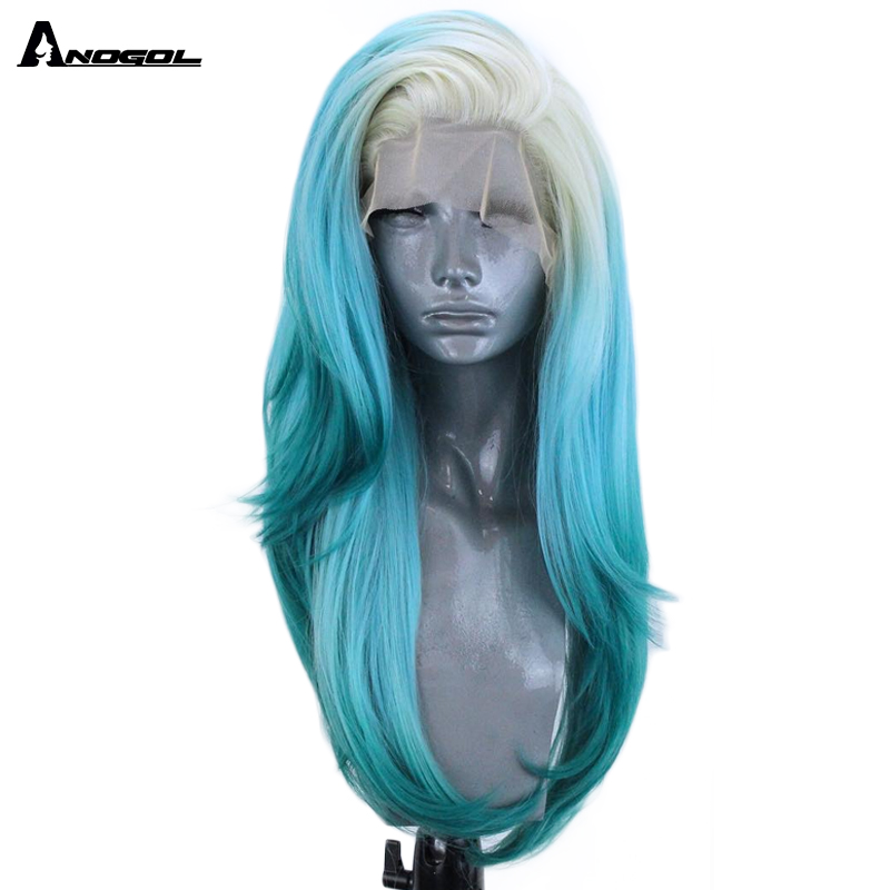 Anogol Ombre Blue Side Part Natural Long Natural Wave High Temperature Fiber 613 Platinum Blonde Synthetic