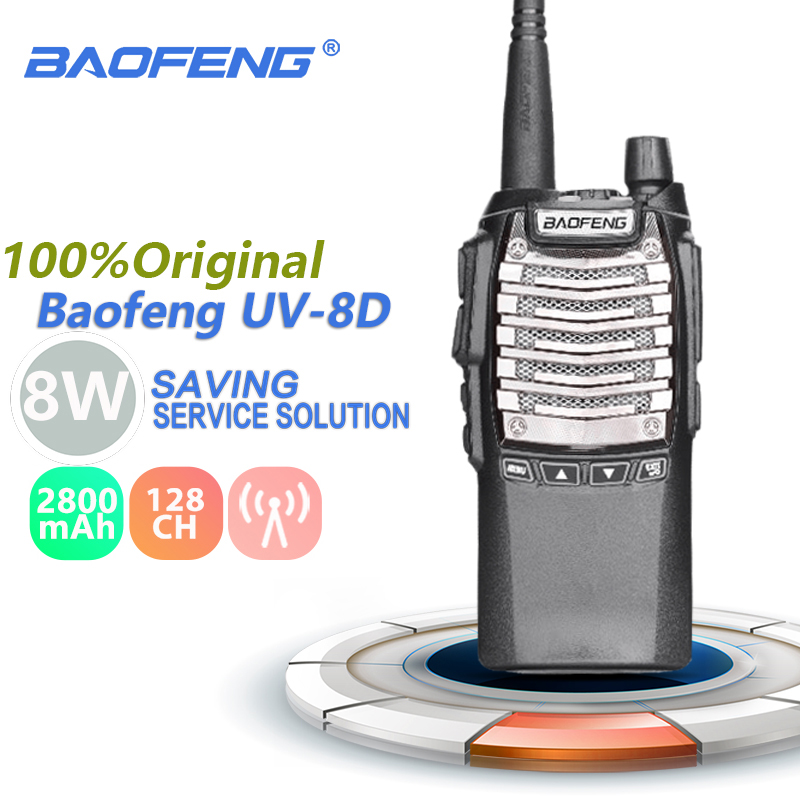 Baofeng UV 8D Walkie Talkie 8W 2800mAh Dual PTT UHF Ham Radio UV8D Transceiver CB Radio Hunting UV 8D Communication Equipments
