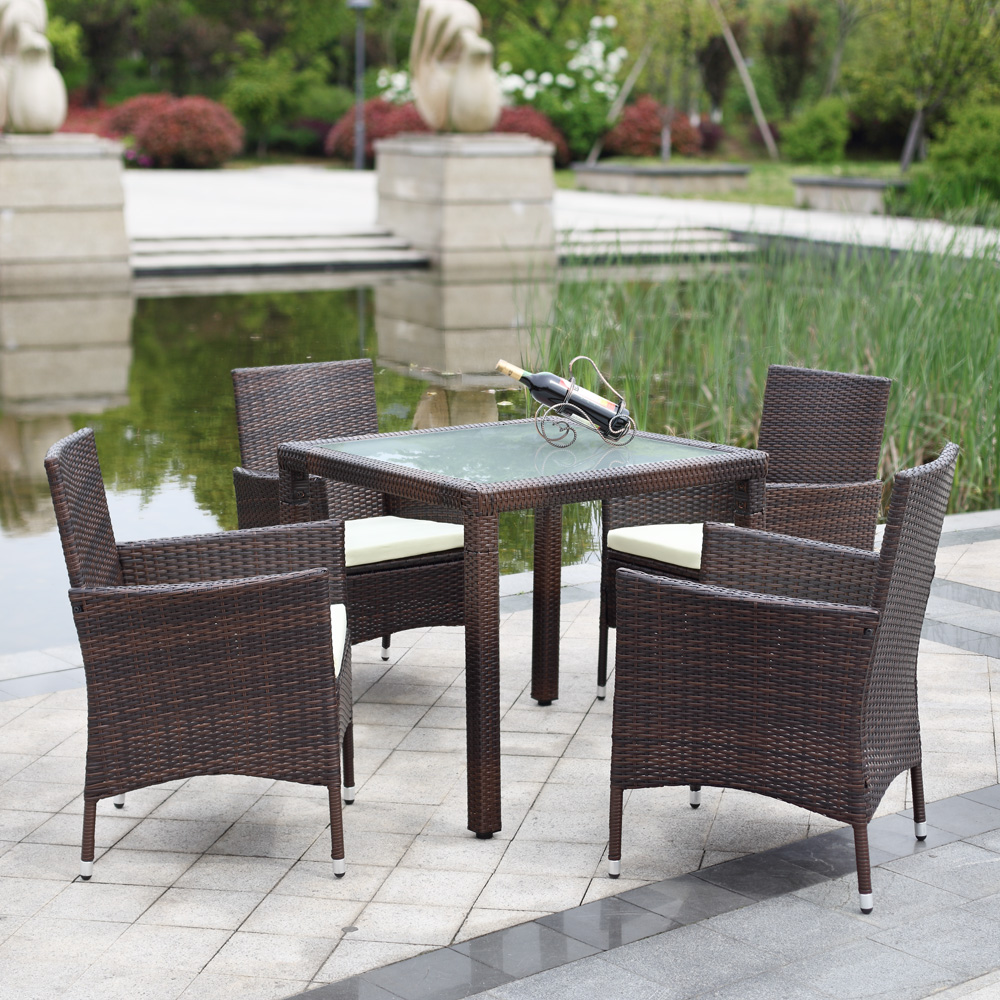 IKayaa US Stock 5PCS Wicker Rattan Outdoor Dinning Table Chair Set  Cushioned Garden Patio Furniture Set