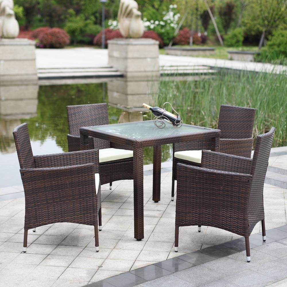 IKayaa US Stock 5PCS Wicker Rattan Outdoor Dinning Table Chair Set  Cushioned Garden Patio Furniture Set