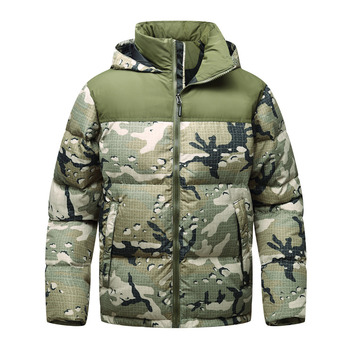 Winter Men Jacket Tip Quality Hooded Thick Down Jacket Men Windbreaker Camouflage flag Mounting Design White Duck Down Coat