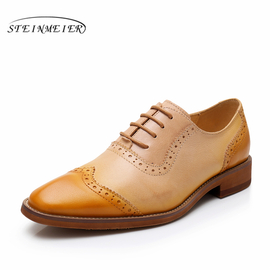 100% Genuine sheepskin leather brogue shoes yinzo lady flats shoes vintage handmade oxford shoes for women red blue brown spring genuine leather woman size 9 designer yinzo vintage flat shoes round toe handmade black grey oxford shoes for women 2017