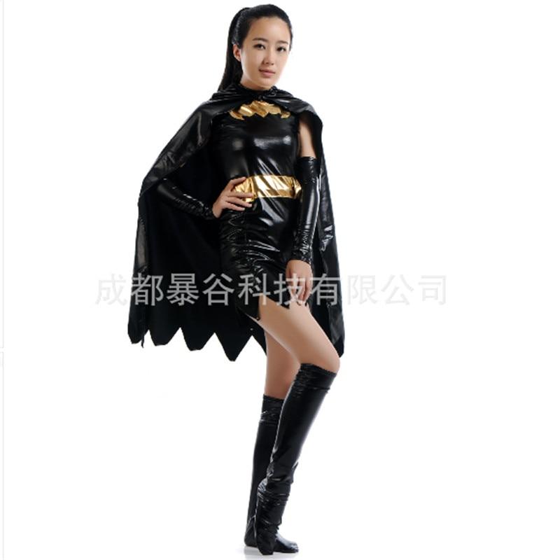 2016 high quality sexy black batman costume batgirl dress superhero cosplay zentai cape adult women halloween costumes for women - High Quality Womens Halloween Costumes