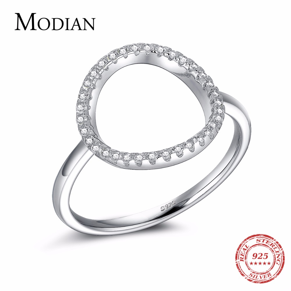 Classic Fashion Hollow Out Hoop Sparkling White And Rose Ring Cubic Zirconia Smycken Real Solid 925 Sterling Silver Rings