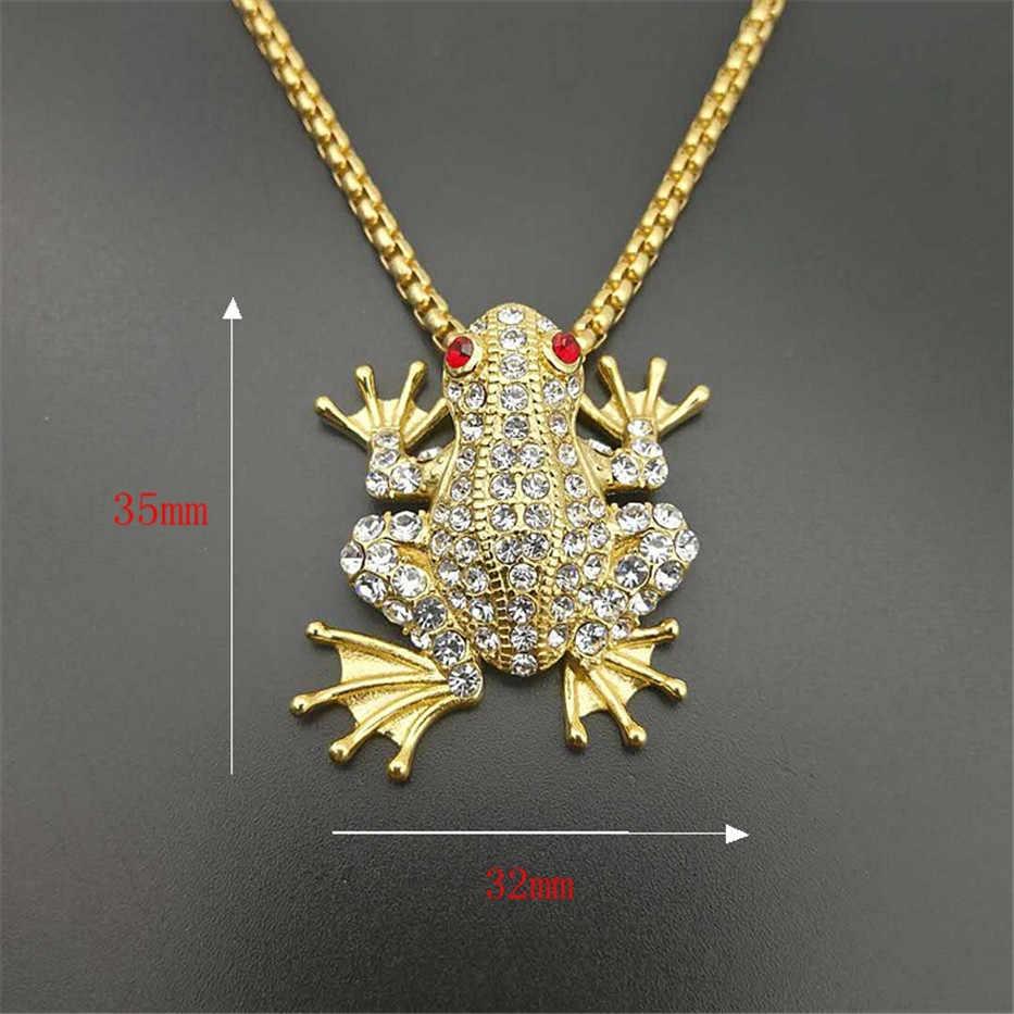 Iced Out zwierząt żaba naszyjnik i wisiorek z łańcuch ze stali nierdzewnej złoty kolor Bling Cubic cyrkon męska Hip hop biżuteria na prezent