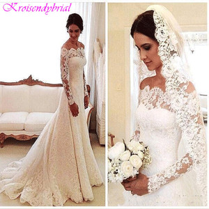 Image 2 - DZW056 Günstige Vestido De Noiva Lange Ärmeln Spitze Hochzeit Kleid 2019 Braut Ehe Kleid Vestido De Casamento Robe De Mariage
