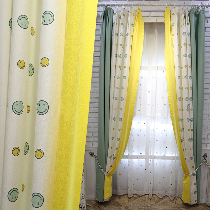 US $64.7 |Living Room Decoratio Curtain Free Shipping!2 Pieces/Lot Yellow  And Green Smiling Face Living Room Curtain.-in Curtains from Home & Garden  ...