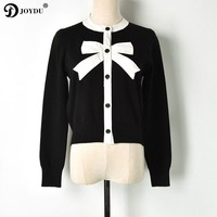 JOYDU 2019 Sweet Cardigan Female Black White Color Block Bow Patchwork O neck Single Breasted Knitted Sweater Women sueter mujer