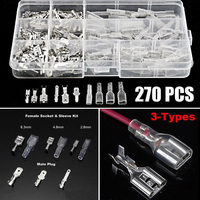 270Pcs Assortment Insulated Spade Connectors Electrical Wire Crimp Terminals 2.8/4.8/6.3mm Wire Connector Kit|Terminals| |  -