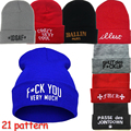 21 Letter Pattern Вышивка Шерсти Трикотажные Шапочки Hat Мужчины и Женщины Случайный Хип-Хоп Skullies Cap Lth01